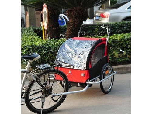 Aosom Elite II 3in1 Double Child Bike Trailer On Street