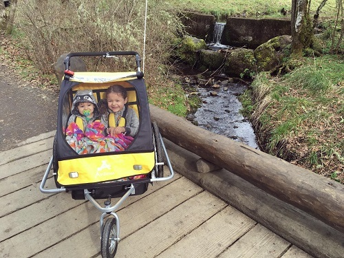 Aosom Elite II 3in1 Double Child Bike Trailer Yellow WIth Kids