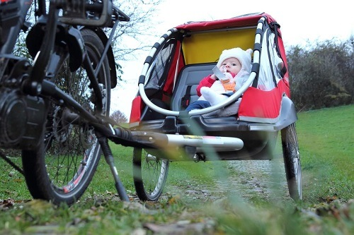 Baby In Bike Trailer Outside