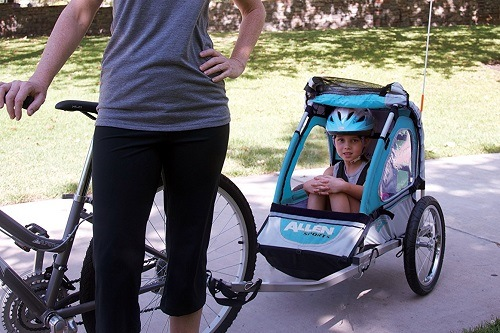 Kid In Allen Bike Trailer