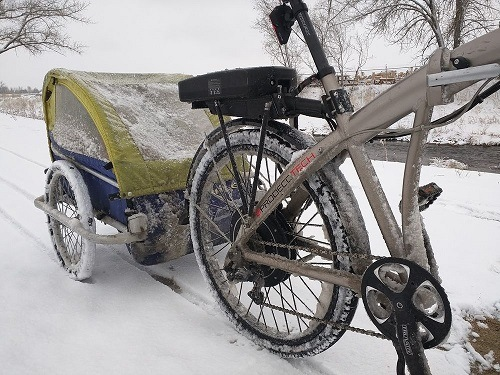 Waterproof Bike Trailer Covered In Snow