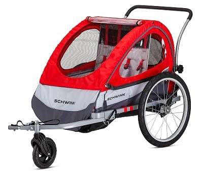 Pacific Cycle Schwinn Trailblazer Double Bicycle Trailer front view.