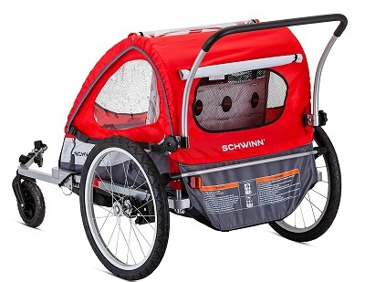 Pacific Cycle Schwinn Trailblazer Double Bicycle Trailer back view.