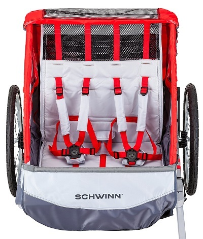 Pacific Cycle Schwinn Trailblazer Double Bicycle Trailer inside view.